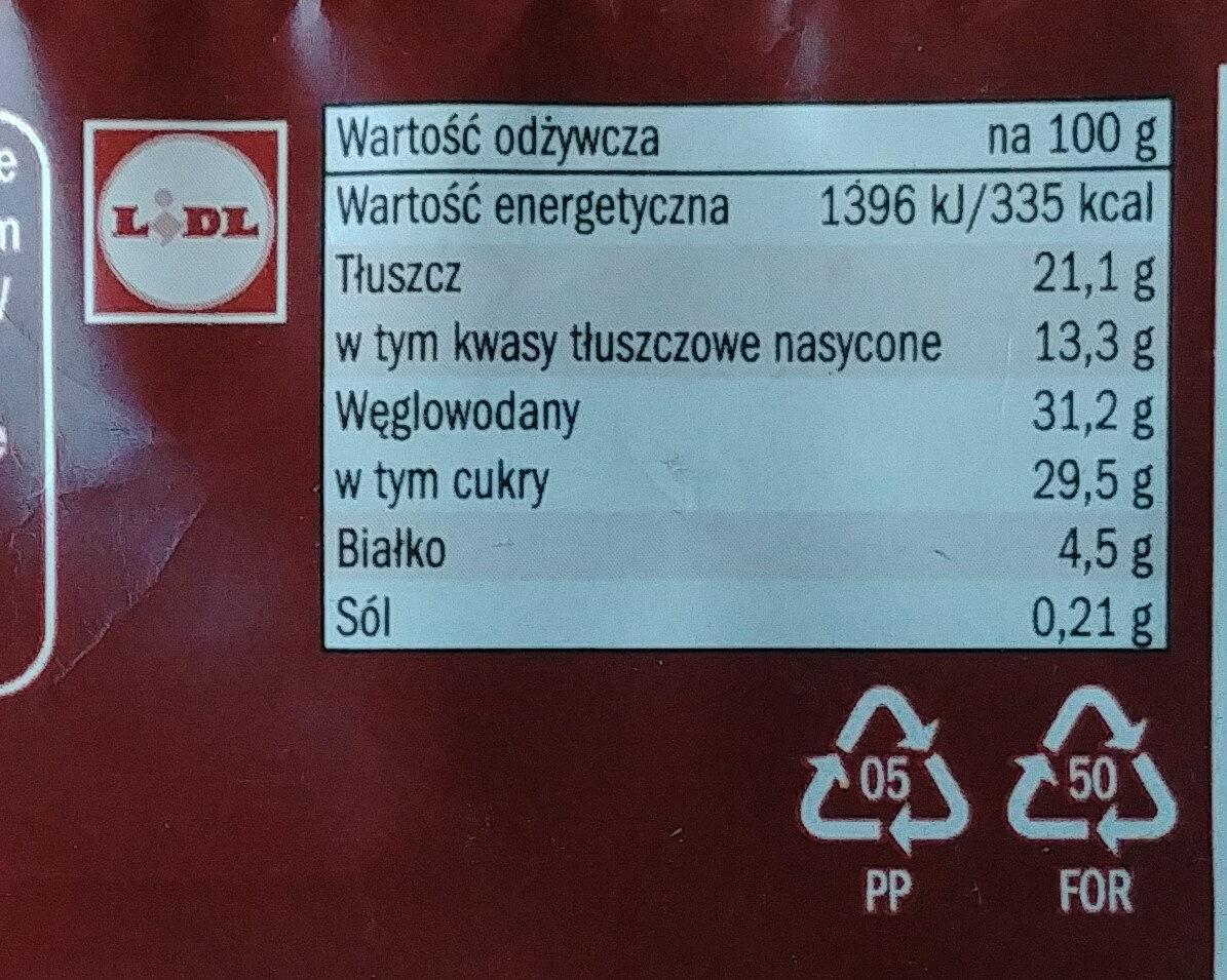 Almond, Lody o smaku waniliowym 66% polane czekoladą mleczną 28% z kawałkami migdałów 6%. - Wartości odżywcze - pl