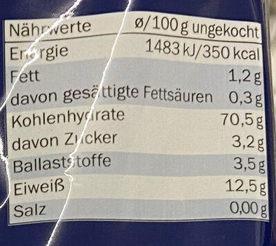 Penne Rigate - Informação nutricional - de