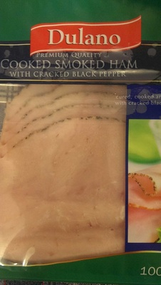 Cooked smoked ham with cracked black pepper - Product