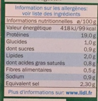 Jambon cuit - Informations nutritionnelles - fr