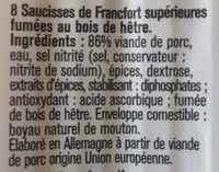 Saucisses de Francfort fumées - Ingredients