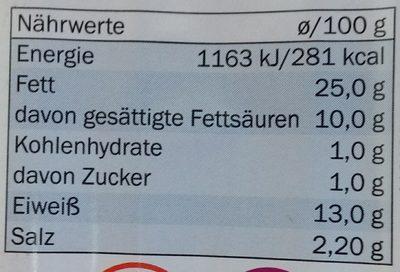 Saucisses de francfort - Nährwertangaben