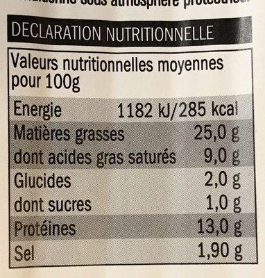 Saucisses de Francfort fumées - Informació nutricional