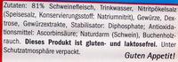 Saucisse géante - Inhaltsstoffe
