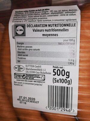 Saucisses géantes fumées - Nährwertangaben - de