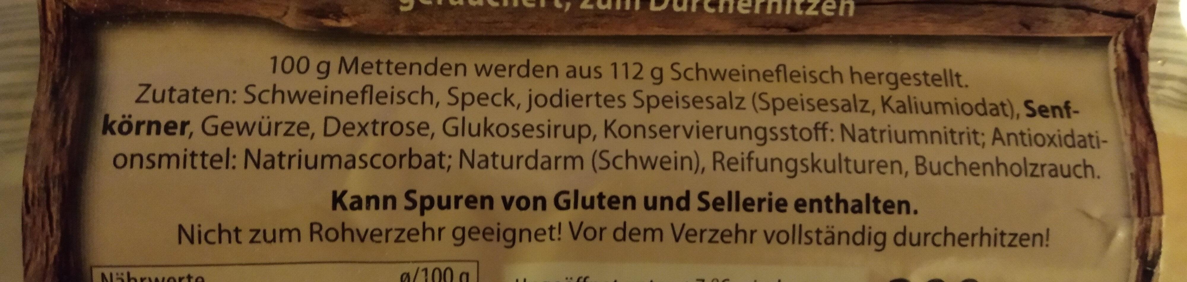 Mettenden. Wurst - Ingrédients - de