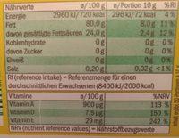 VitaD'or Magarine - Información nutricional - de