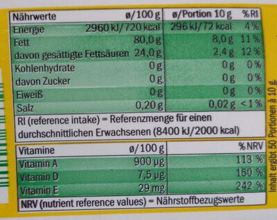 VitaD'or Magarine - Informação nutricional - de