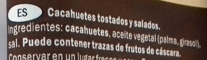 Cacahuètes grillées & salées - Ingredientes