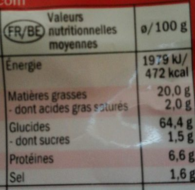Tortilla chili - Informations nutritionnelles