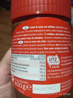 Choco crema - Ingredientes - es