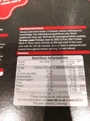 Lidl Trattoria Alfredo double pepperoni pizza - Nutrition facts - en