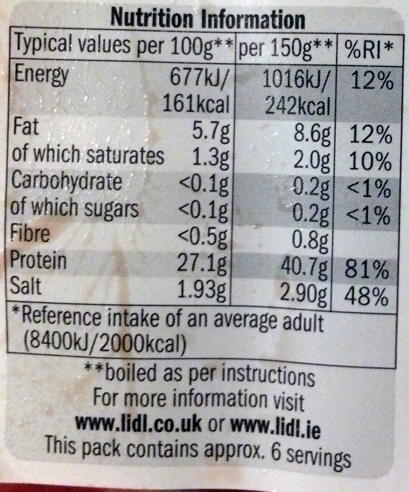 Unsmoked gammon joint - Nutrition facts
