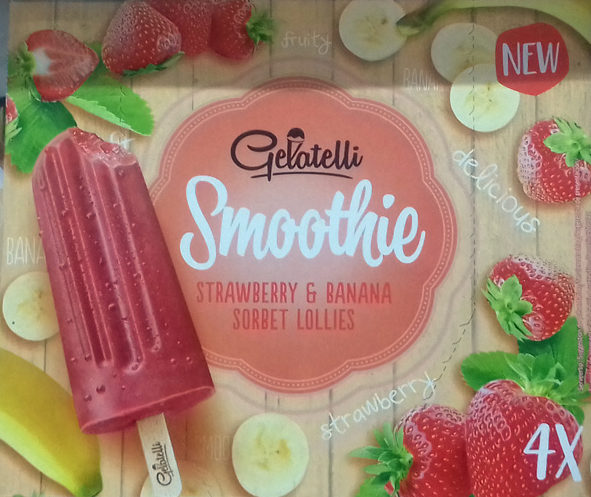 Smoothie Straberry & Banana Sorbet Lollies - Product