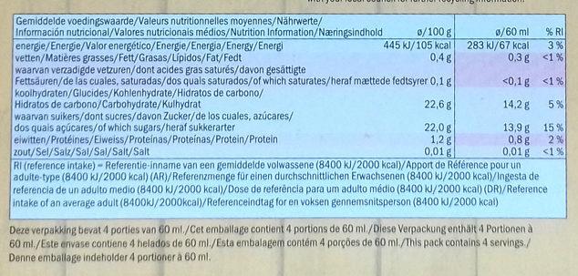 Smoothie Straberry & Banana Sorbet Lollies - Información nutricional