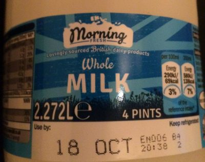 british whole milk - Product