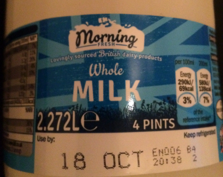 british whole milk - Product - en