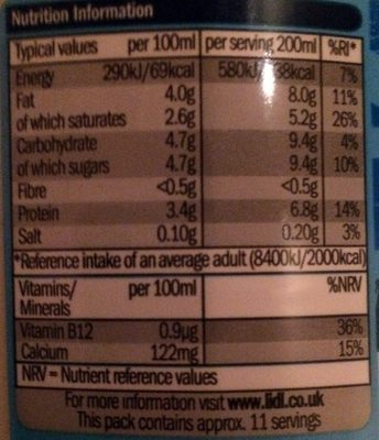 british whole milk - Nutrition facts