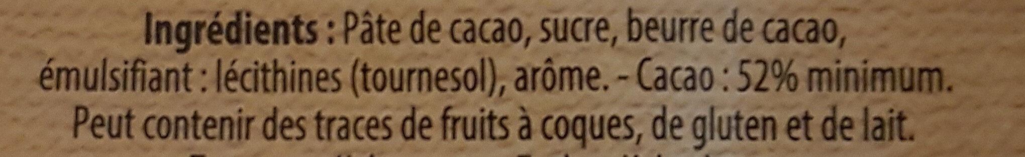 Chocolat Noir Spécial Dessert - Ingrédients - fr