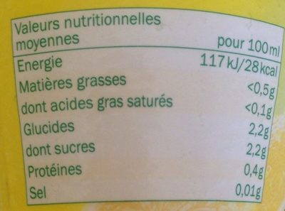 Jus de citron à base de concentré - Nutrition facts