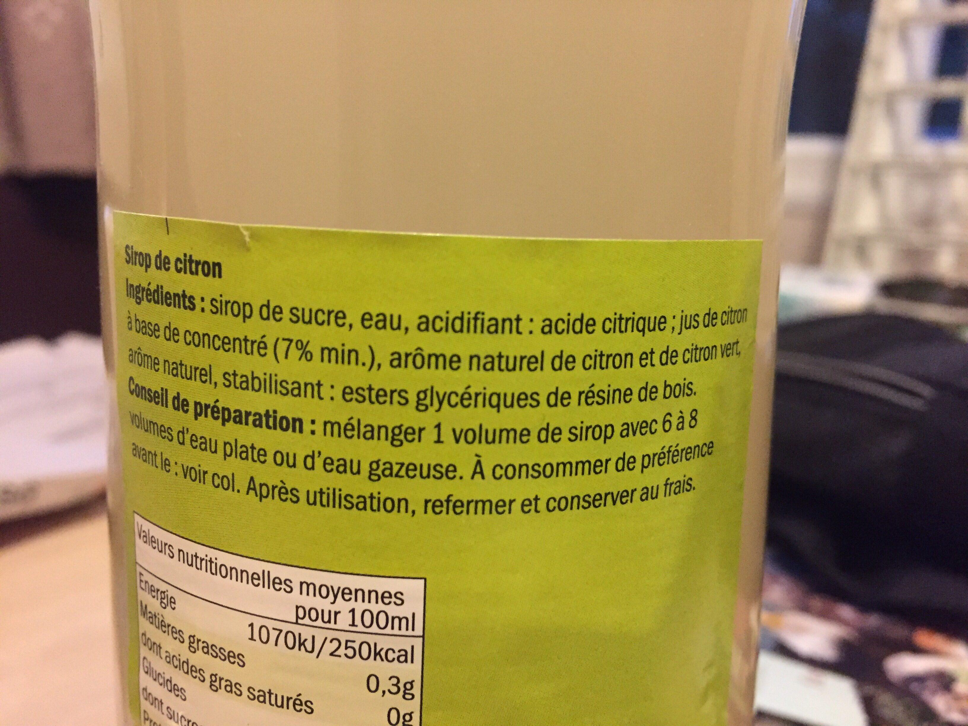 Sirop de citron - Ingredients - fr