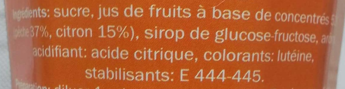 Sirop de pêche - Ingredients - fr