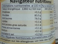 Sirop de pêche - Nutrition facts - fr