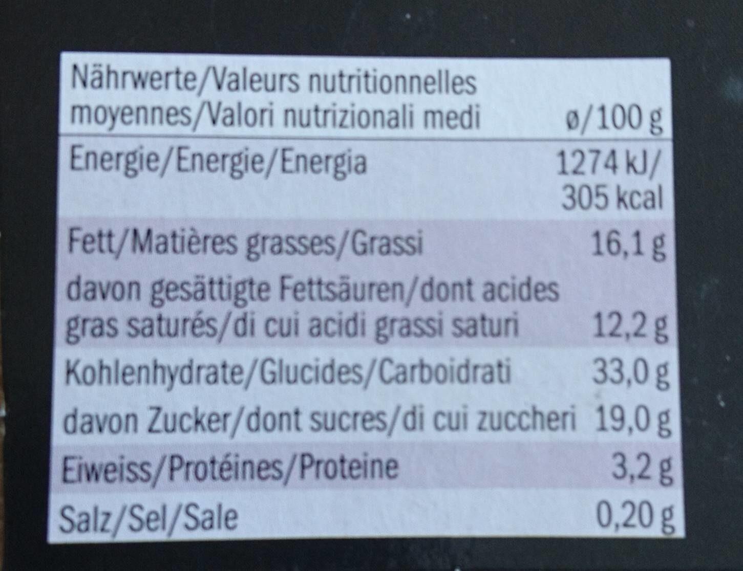 Tiramisu - Voedingswaarden - fr