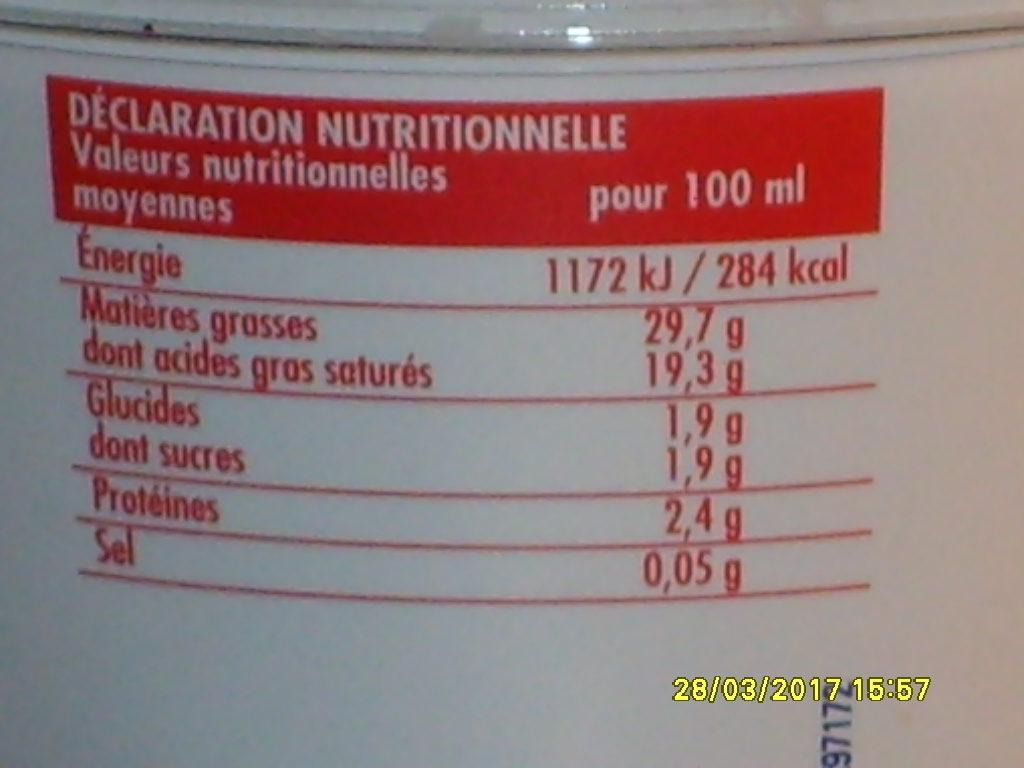 Crème fraiche entière - Nutrition facts