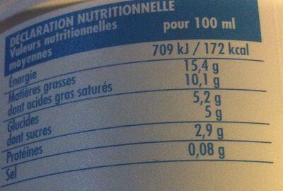 Crème fraîche legère 15%MG - Nutrition facts - fr