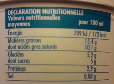 Crème fraîche légère épaisse - Nutrition facts