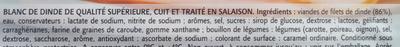 Blanc de Dinde, Cuit à l'étouffée (4 tranches) - Ingrédients