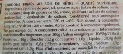 Lardons Fumés (Qualité supérieure) - Ingrediënten