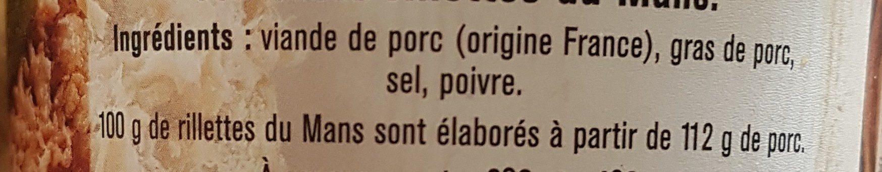Véritables rillettes du Mans - Ingrédients - fr