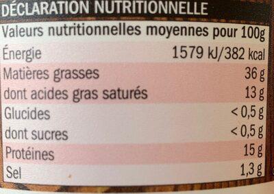 Véritables Rillettes du Mans (Pur Porc) - Informations nutritionnelles - fr