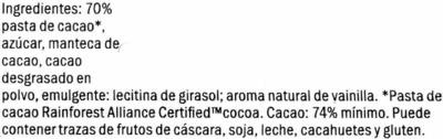 Noir intense 74%cacao - Ingredientes