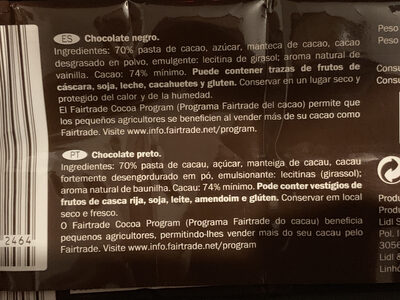 Noir Intense - Nutrition facts - en