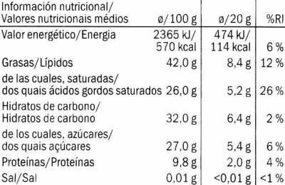 Noir intense 74%cacao - Información nutricional