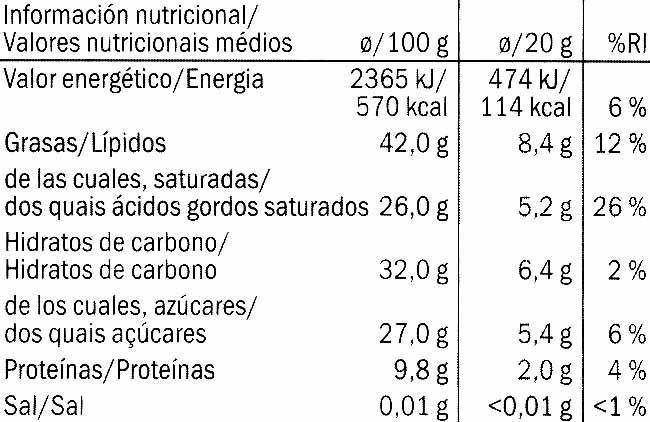 Noir Intense - Información nutricional - es