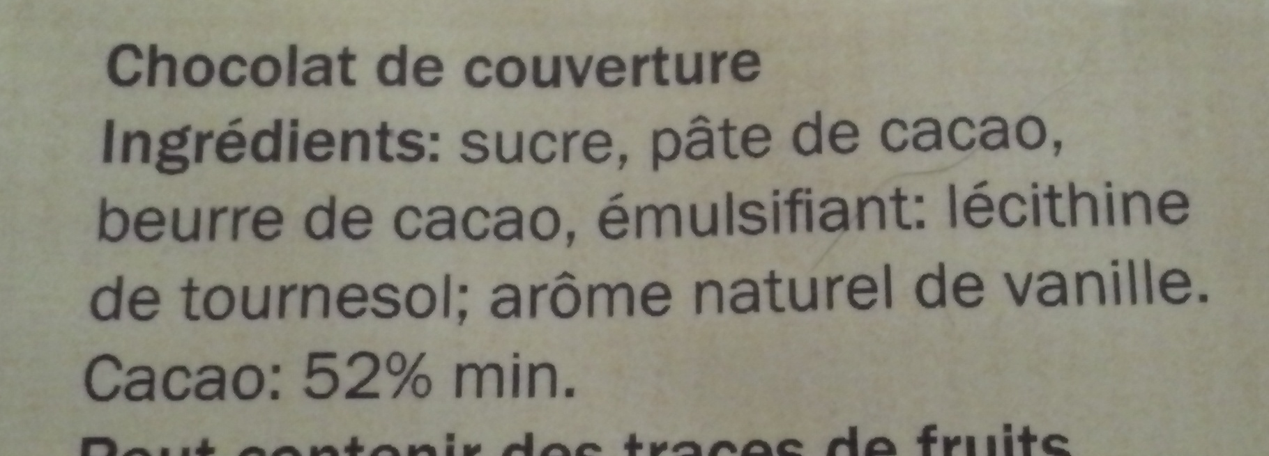 Chocolat Noir Dessert - Ingredientes
