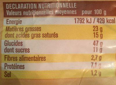 10 pains au chocolat - Informations nutritionnelles - fr