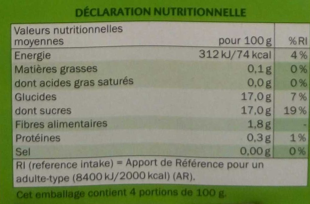 Compotes de Pomme - Voedingswaarden - fr