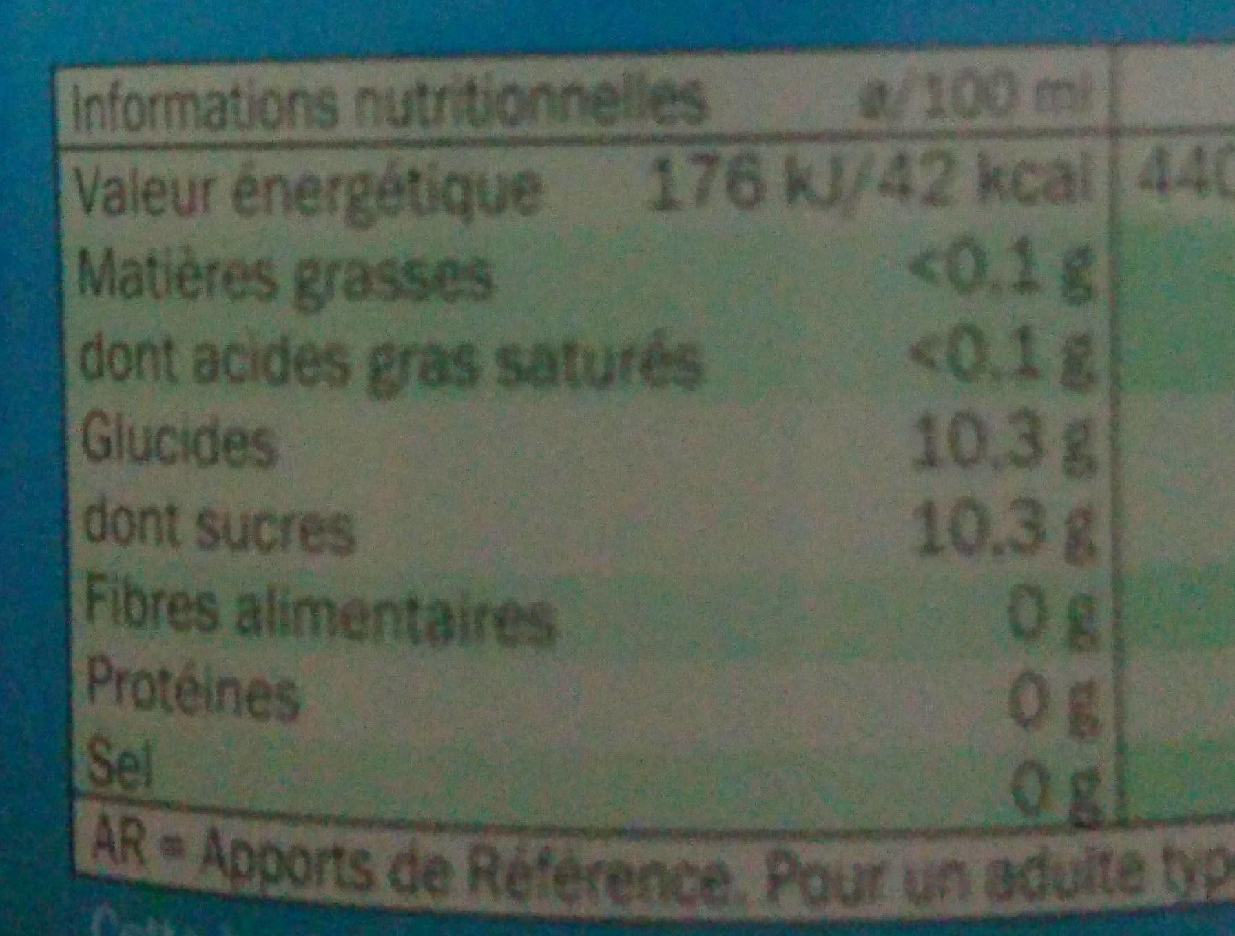 Freeway Lemon - Informations nutritionnelles