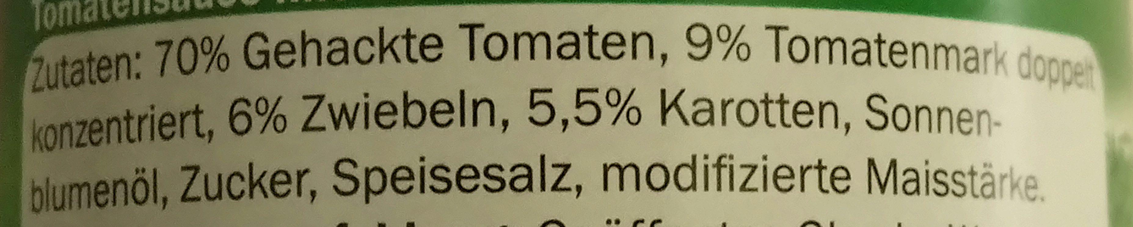 Sauce Tomate Cuisinée aux légumes - Inhaltsstoffe