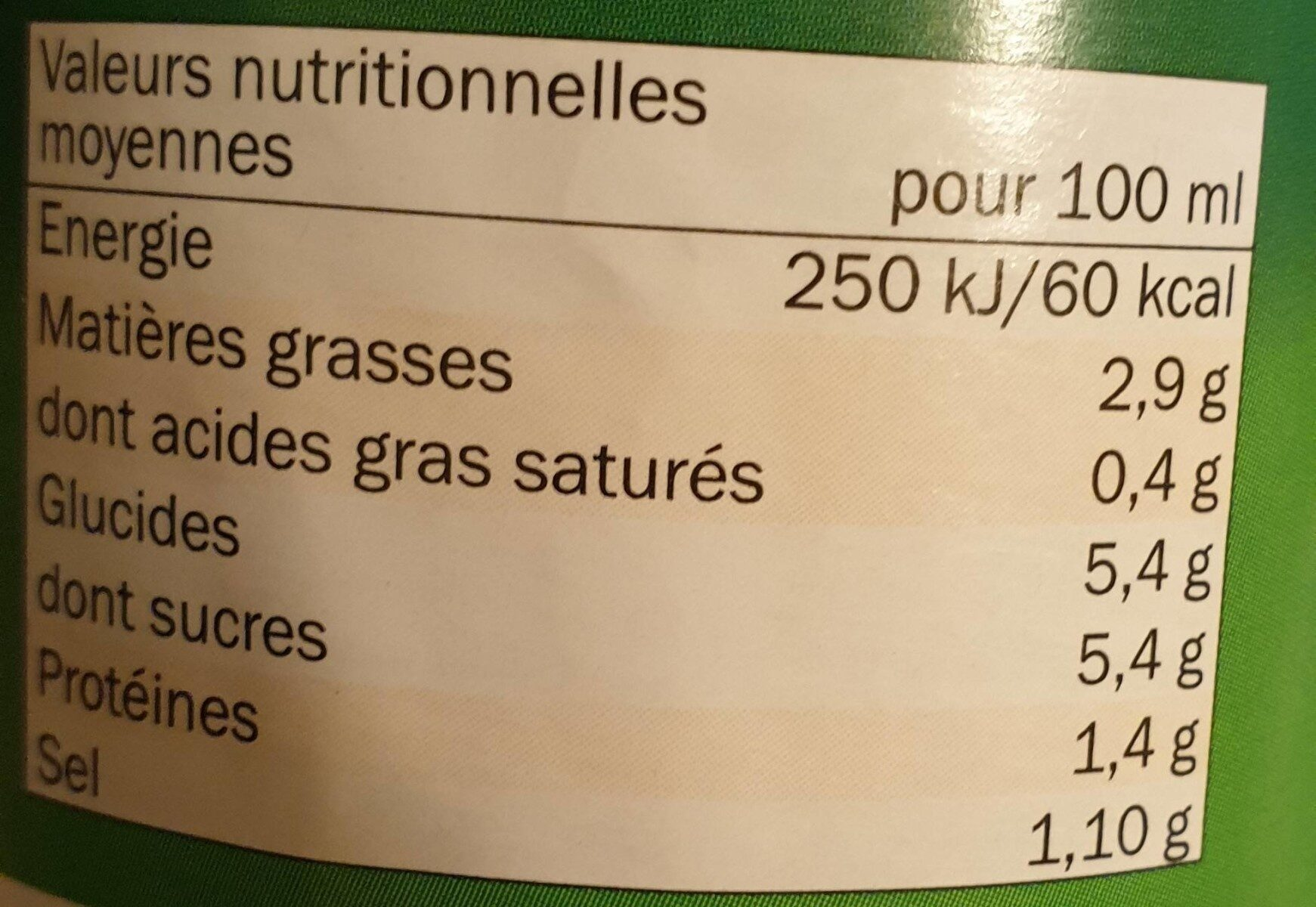 Sauce Tomate Napolitaine - Valori nutrizionali - fr