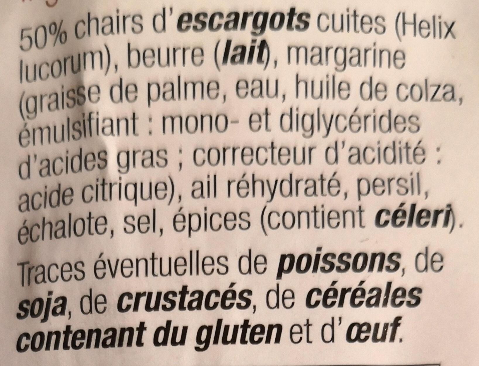 12 escargots préparés surgelés - Ingrediënten - fr