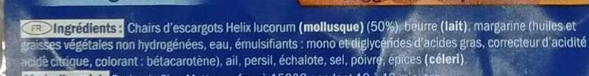 12 escargots préparés surgelés - Ingredients