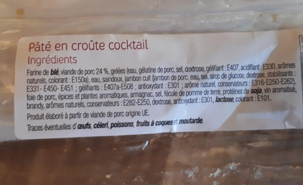 Pâté en croûte cocktail - Ingrédients