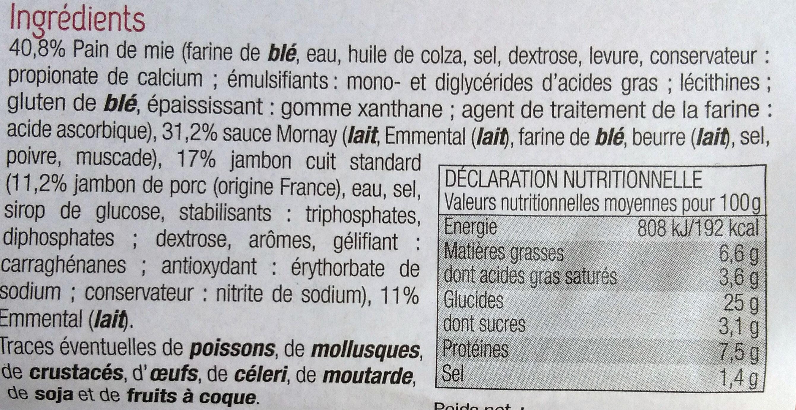 Croque-Monsieur - Ingredientes - fr