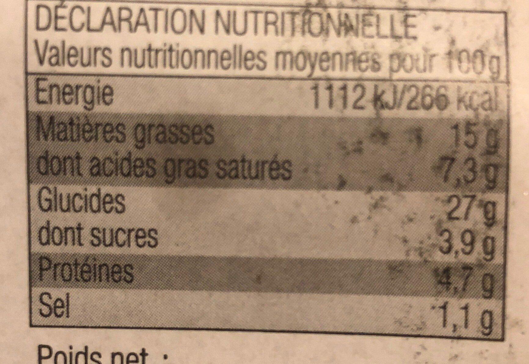 Roulés au Fromage - Informations nutritionnelles - fr